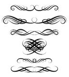 Set of calligraphic swirls Royalty Free Stock Images