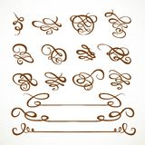 Set calligraphic symmetrical and asymmetrical elements 1 Stock Photography
