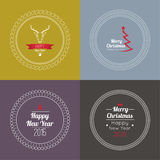 Set of calligraphic and typographic elements. Merry Christmas and happy new year. 2015 Set of calligraphic and typographic elements, frames, vintage labels, seal vector illustration