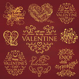 Set of Calligraphic Valentines Day design elements Royalty Free Stock Image