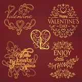 Set of Calligraphic Valentines Day design elements Royalty Free Stock Photos
