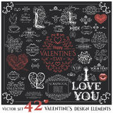 Set of Calligraphic Valentines Day design elements Stock Photo