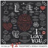 Set of Calligraphic Valentines Day design elements Stock Photo