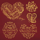 Set of Calligraphic Valentines Day design elements Royalty Free Stock Photography