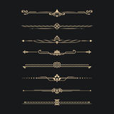Set of calligraphical. Gold elements of design. Execution of the page. Allocation of the text in vintage style. Typographical partitions, jewelry for books Royalty Free Stock Photos