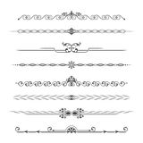 Set of calligraphical. Monochrome elements of design. Implementation of the page. Allocation of the text in vintage style. Typographical partitions, jewelry for Royalty Free Stock Photos