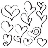 Set of calligraphy heart art for design. Vector illustration EPS10 Royalty Free Stock Photos
