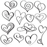 Set of calligraphy heart art for design. Vector illustration EPS10 Royalty Free Stock Images