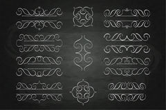 Set calligraphy monogram floral design, vintage pattern logo chalk on a blackboard Stock Images