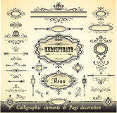 Set calligraphy and pages decoration Royalty Free Stock Photos