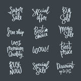 Set of calligraphy on the theme of sale Stock Photos