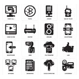 Set of Camcorder, Cloud computing, Network, File transfer, Smartphone, Speaker, Video player, Server, call icons. Set Of 16 simple  icons such as Camcorder Royalty Free Stock Images