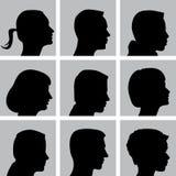 Set of Cameo Silhouettes Stock Photos