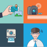 Set of  camera concept design flat line. Illustration Stock Image
