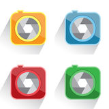 Set camera icon red, yellow, green, blue Stock Photography