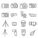 Set of Camera icons on white background. Set of Camera, Video, Lens, and Tripod icons on white background Stock Image