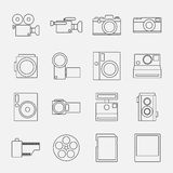 Set of camera line style icons vector illustration Stock Photography