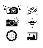 Set of camera logo, icons, buttons design. Royalty Free Stock Photos