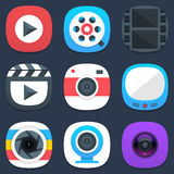 Set of camera, photo and video mobile icons in Royalty Free Stock Photos