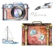 Watercolor set with camera, seagull, yacht and suitcase. Set with camera, seagull, yacht and suitcase on white background. Watercolor hand drawn illustration royalty free illustration
