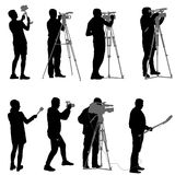 Set cameraman with video camera. Silhouettes on white background Stock Photos