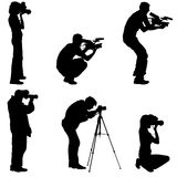 Set cameraman with video camera. Silhouettes on white background. Vector illustration Stock Photography