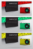 Set of cameras banner. Vector illustration Stock Photography