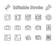 Set of cameras and photo, vector line icons. Contains symbols of portraits and family photos and much more. Editable move. 32x32 p stock illustration