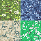 Set of camouflage military background in pixel style. Seamless pattern Royalty Free Stock Image