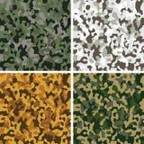 Set of camouflage seamless patterns. Set of camouflage digital pixel seamless patterns Royalty Free Stock Photo