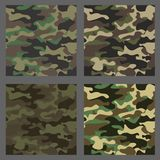 Set of camouflage seamless patterns background. Classic clothing style masking camo repeat print. Green,brown,black. Olive,blue,ocean,pink,orange colors texture Royalty Free Stock Image