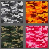 Set of camouflage seamless patterns background. Classic clothing style masking camo repeat print. Green,brown,black. Olive,blue,ocean,pink,orange colors texture Royalty Free Stock Images