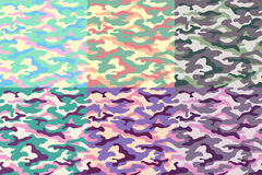 Set of camouflage seamless patterns of unusual colors. Vector illustration Stock Photos