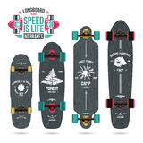 Set of camp emblems on longboard. Graphically print, variety form royalty free illustration