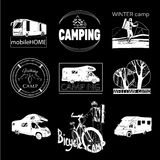 Set of camp labels and logo graphics, stamp, print, icon. Vector illustration of set of camp labels and logo graphics, stamp, print, icon on black background Stock Photography