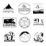 Set of camp labels and logo graphics, stamp, print, icon. Vector illustration of set of camp labels and logo graphics, stamp, print, icon on white background Royalty Free Stock Image