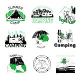 Set of camp labels and logo graphics. Vector illustration of set of camp labels and logo graphics Royalty Free Stock Photography