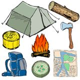 Set of camp objects Royalty Free Stock Images