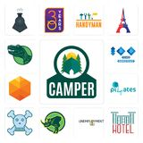 Set of camper, hotel, unemployment, rhino, skull and crossbones, SOZ, cubic, 100 year anniversary, dino icons. Set Of 13 simple  icons such as camper, hotel Royalty Free Stock Photo