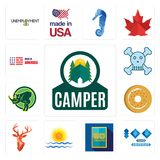 Set of camper, 100 year anniversary, 50 year, rising sun, stag head, bagel, rhino, skull and crossbones, made in america icons. Set Of 13 simple  icons such as Stock Photography