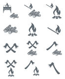 Set of campfire, ax and firewood icons. Vector illustration Royalty Free Stock Photography