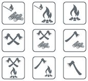 Set of Campfire icons Royalty Free Stock Images