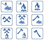 Set of Campfire icons Stock Image