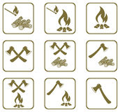 Set of Campfire icons. Vector illustration Stock Image