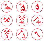 Set of Campfire icons. Vector illustration Stock Images