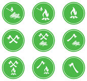 Set of Campfire icons. Vector illustration Stock Photography