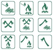 Set of Campfire icons. Vector illustration Royalty Free Stock Image