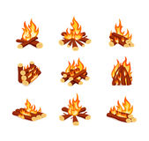 Set of campfires  on white background. Bright bonfires in cartoon style. Stock Images