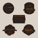 Set of Camping Badges and Emblems with Mountain lake Stock Image
