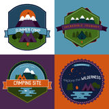 Set of Camping Badges and Emblems with Mountain lake Royalty Free Stock Image